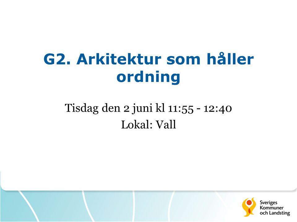 G2. Arkitektur som håller ordning Tisdag den 2 juni kl 11:55 - 12:40 Lokal: Vall