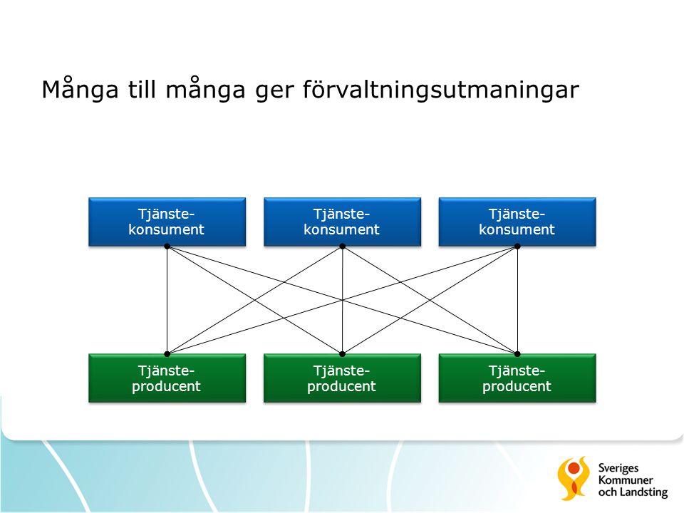 Många till många ger förvaltningsutmaningar Tjänste- producent Tjänste- producent Tjänste- konsument Tjänste- konsument Tjänste- producent Tjänste- producent Tjänste- producent Tjänste- producent Tjänste- konsument Tjänste- konsument Tjänste- konsument Tjänste- konsument