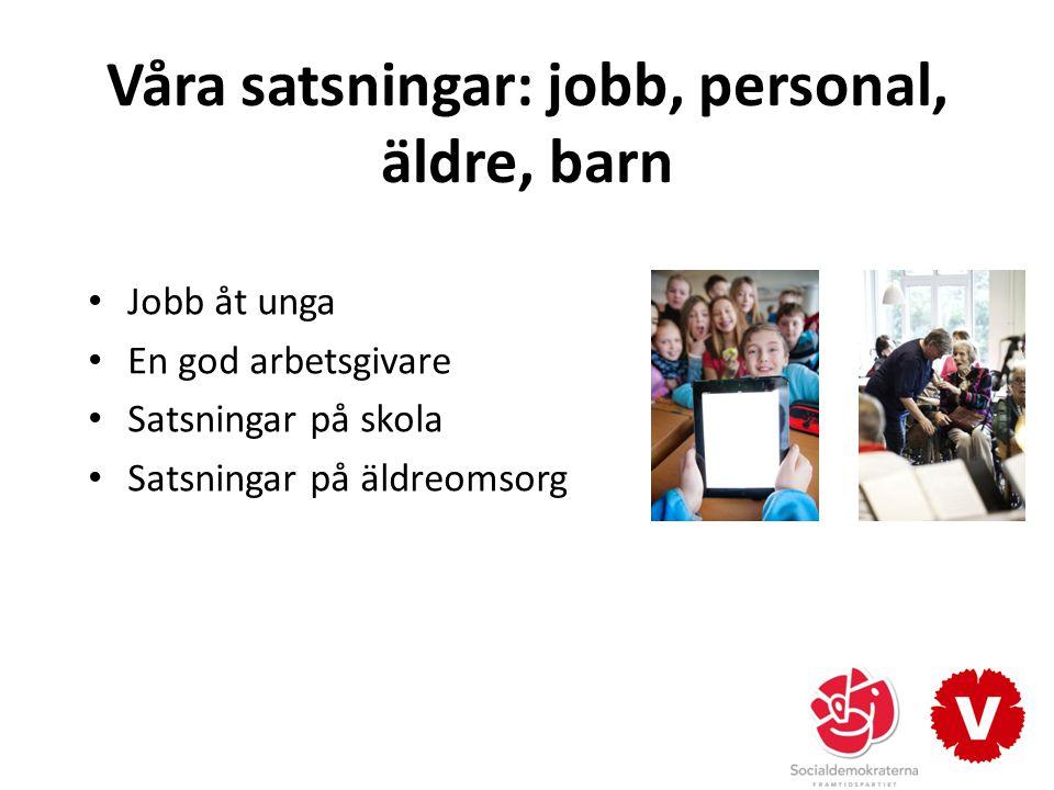 Våra satsningar: jobb, personal, äldre, barn Jobb åt unga En god arbetsgivare Satsningar på skola Satsningar på äldreomsorg
