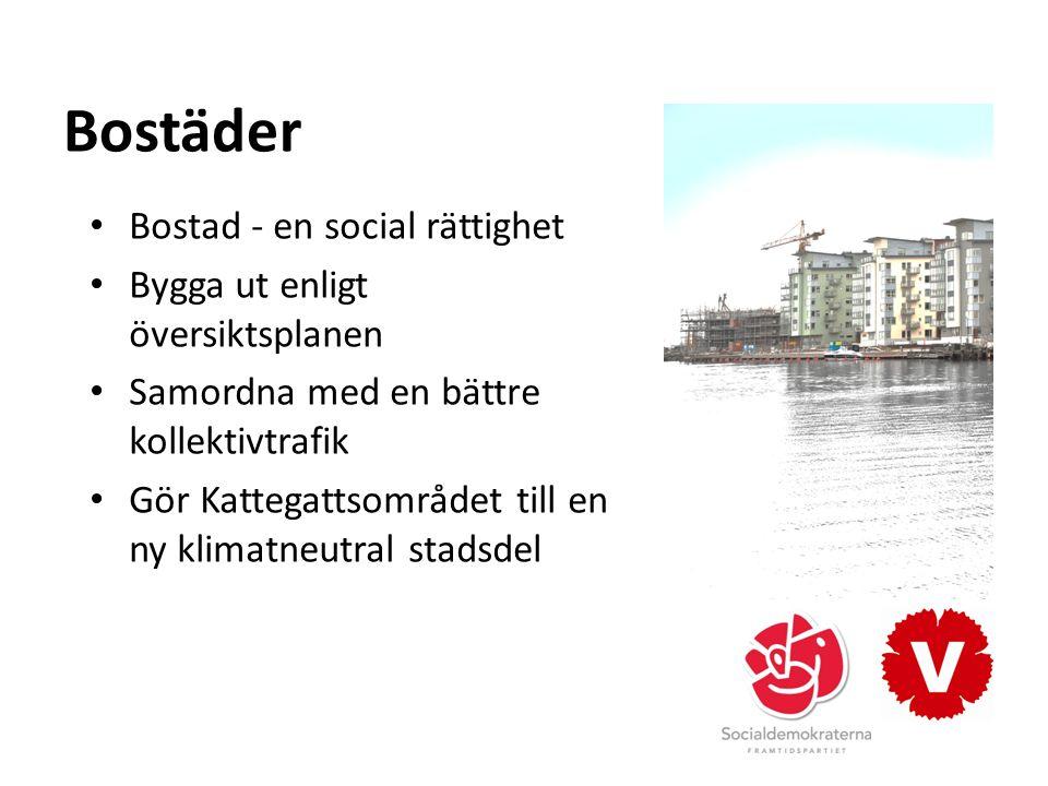 Bostäder Bostad - en social rättighet Bygga ut enligt översiktsplanen Samordna med en bättre kollektivtrafik Gör Kattegattsområdet till en ny klimatneutral stadsdel