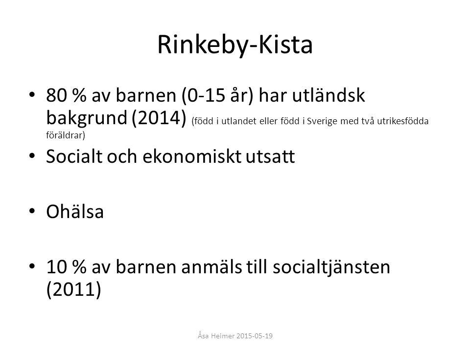 Rinkeby-Kista 80 % av barnen (0-15 år) har utländsk bakgrund (2014) (född i utlandet eller född i Sverige med två utrikesfödda föräldrar) Socialt och
