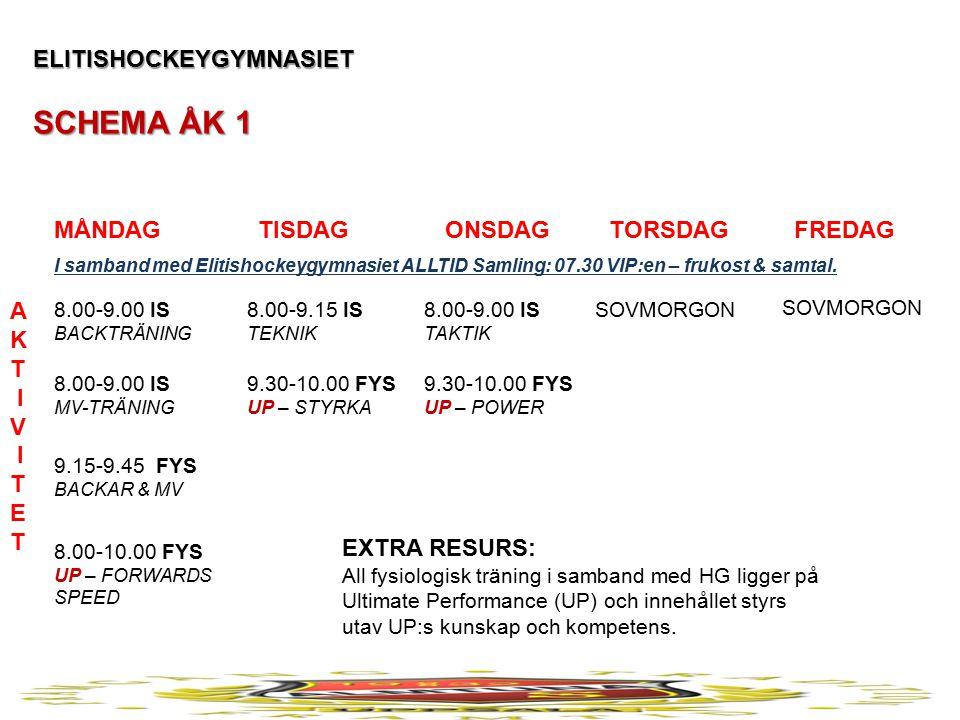 ELITISHOCKEYGYMNASIET SCHEMA ÅK 2 MÅNDAG TISDAG ONSDAG TORSDAG FREDAG A K T I V I T E T 8.00-9.00 IS BACKTRÄNING 8.00-9.00 IS MV-TRÄNING 9.15-9.45 FYS BACKAR & MV 8.00-10.00 FYS UP – FORWARDS SPEED 8.00-9.15 IS TEKNIK 9.30-10.00 FYS STYRKA 8.00-9.00 IS TAKTIK 9.30-10.00 FYS POWER SOVMORGON EXTRA RESURS: Alla spelare ges ett individuellt samtal per vecka.