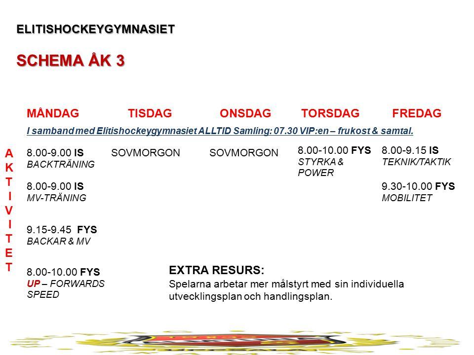 ELITISHOCKEYGYMNASIET SCHEMA ÅK 3 MÅNDAG TISDAG ONSDAG TORSDAG FREDAG A K T I V I T E T 8.00-9.00 IS BACKTRÄNING 8.00-9.00 IS MV-TRÄNING 9.15-9.45 FYS BACKAR & MV 8.00-10.00 FYS UP – FORWARDS SPEED 8.00-9.15 IS TEKNIK/TAKTIK 8.00-10.00 FYS STYRKA & POWER 9.30-10.00 FYS MOBILITET SOVMORGON EXTRA RESURS: Spelarna arbetar mer målstyrt med sin individuella utvecklingsplan och handlingsplan.