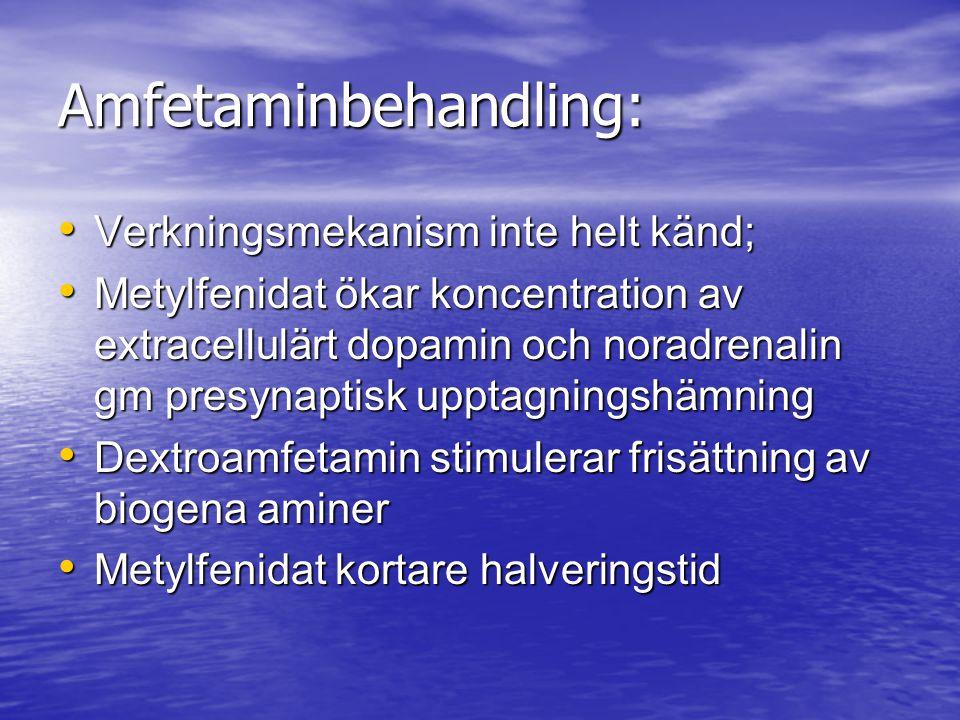 Amfetaminbehandling: Verkningsmekanism inte helt känd; Verkningsmekanism inte helt känd; Metylfenidat ökar koncentration av extracellulärt dopamin och