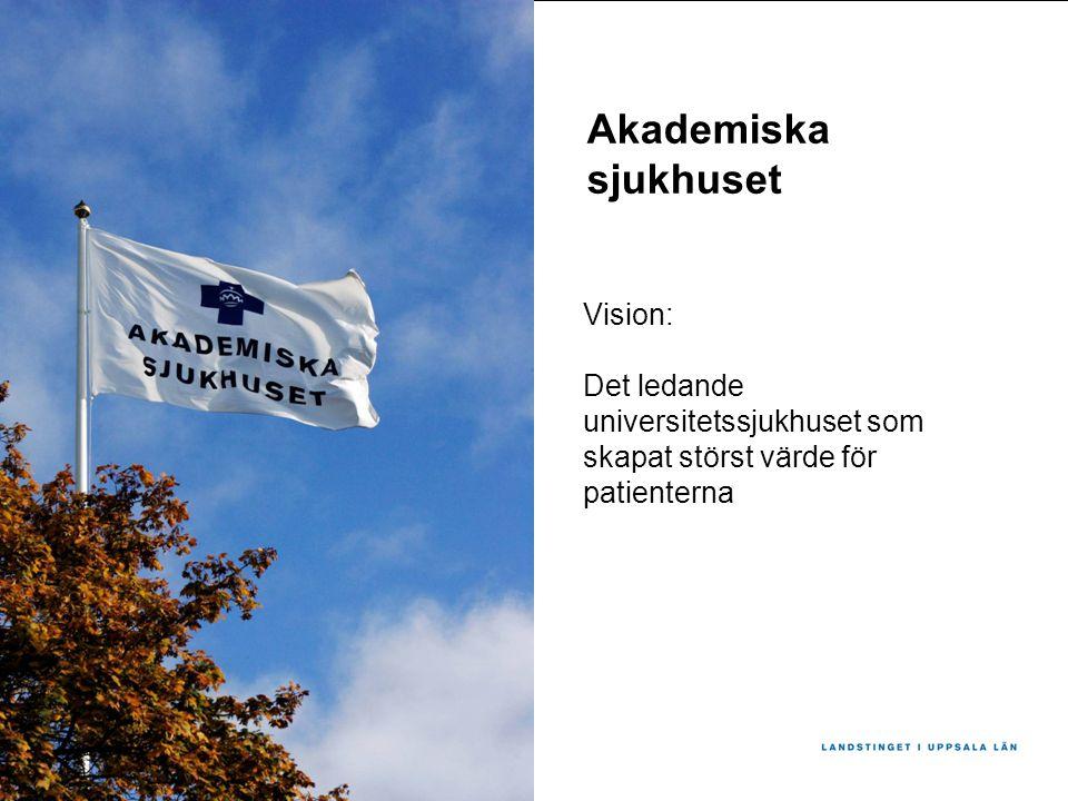 Vision: Det ledande universitetssjukhuset som skapat störst värde för patienterna Akademiska sjukhuset