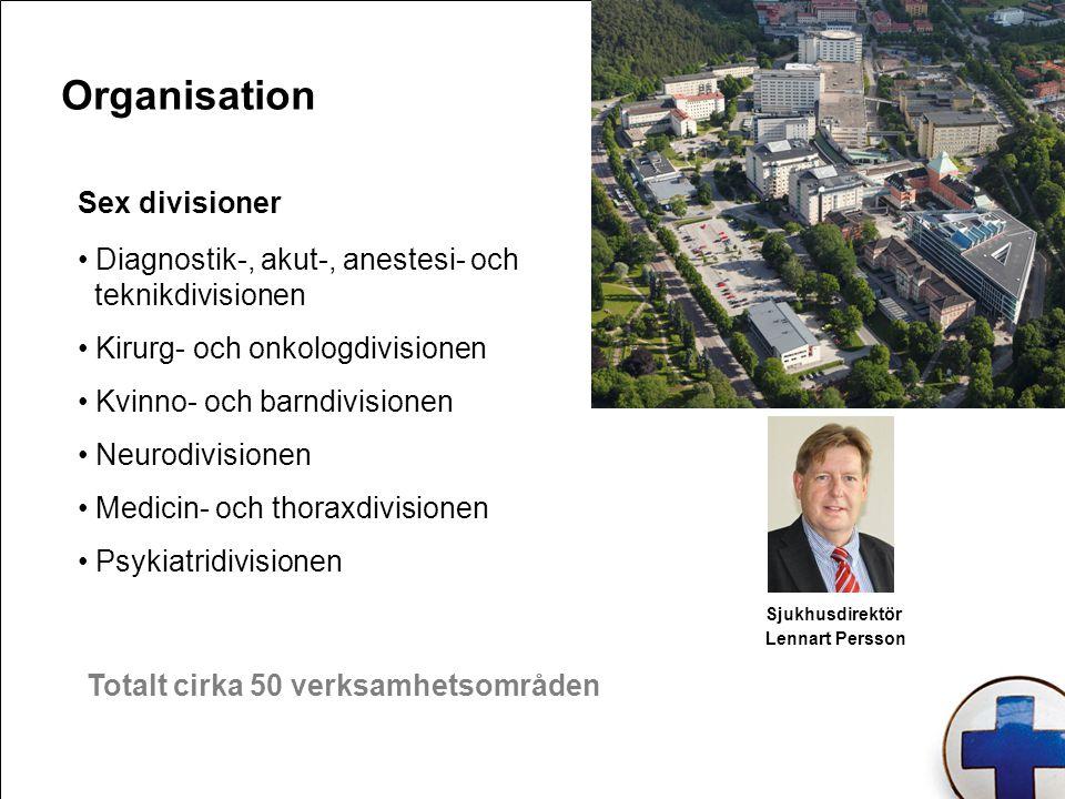 Sex divisioner Diagnostik-, akut-, anestesi- och teknikdivisionen Kirurg- och onkologdivisionen Kvinno- och barndivisionen Neurodivisionen Medicin- oc