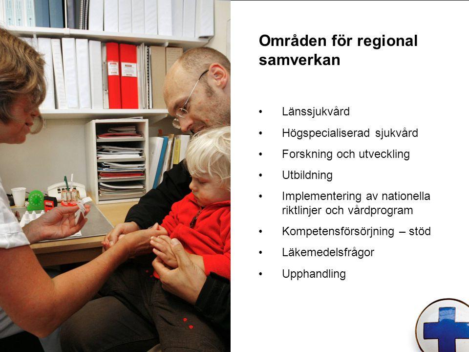 Områden för regional samverkan Länssjukvård Högspecialiserad sjukvård Forskning och utveckling Utbildning Implementering av nationella riktlinjer och