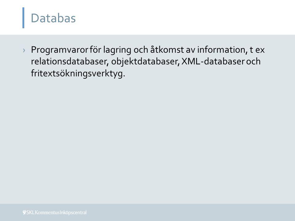 Databas ›Programvaror för lagring och åtkomst av information, t ex relationsdatabaser, objektdatabaser, XML-databaser och fritextsökningsverktyg.