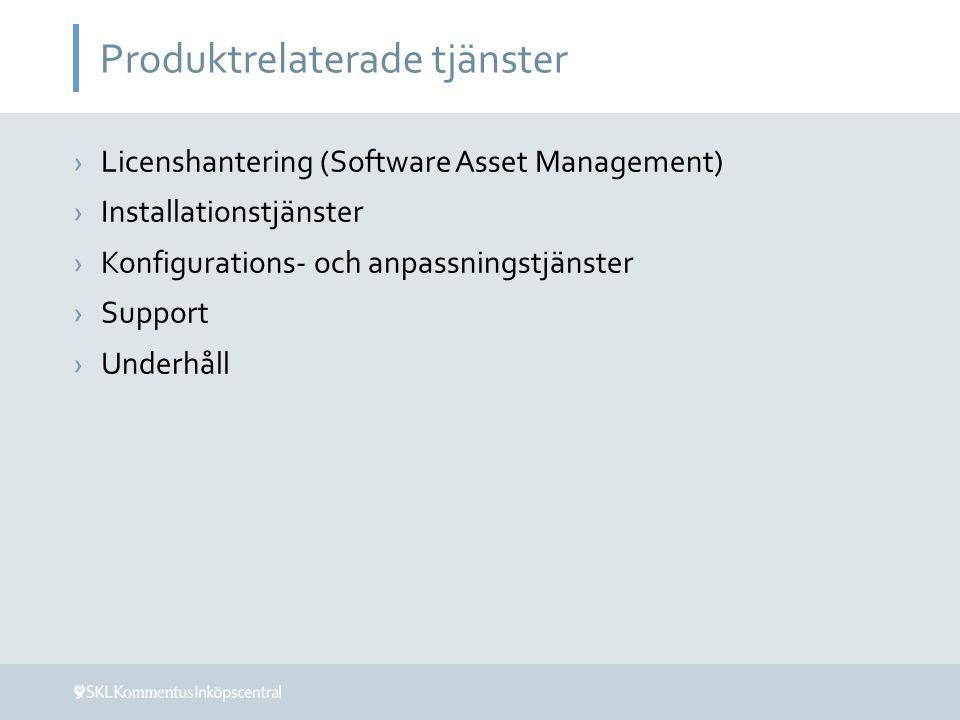 Produktrelaterade tjänster ›Licenshantering (Software Asset Management) ›Installationstjänster ›Konfigurations- och anpassningstjänster ›Support ›Unde