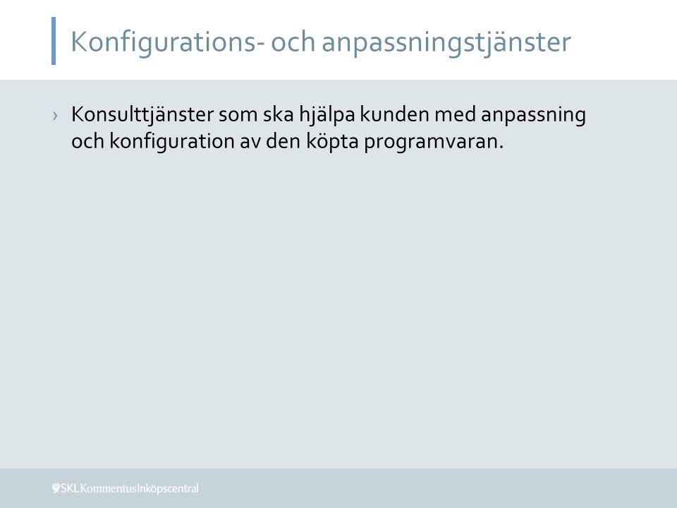 Konfigurations- och anpassningstjänster ›Konsulttjänster som ska hjälpa kunden med anpassning och konfiguration av den köpta programvaran.