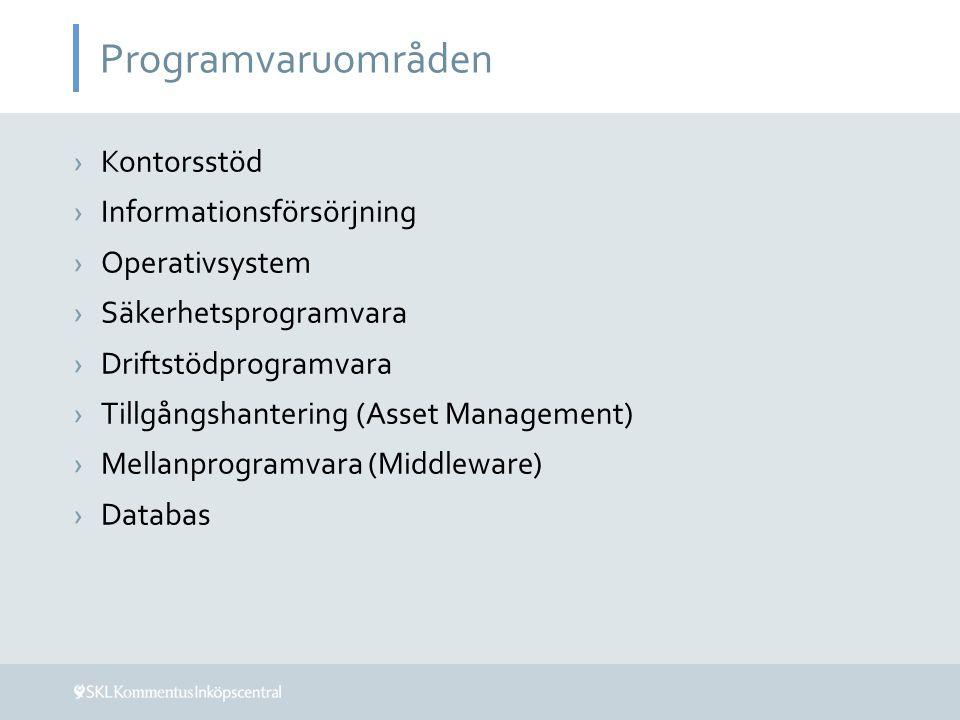 Programvaruområden ›Kontorsstöd ›Informationsförsörjning ›Operativsystem ›Säkerhetsprogramvara ›Driftstödprogramvara ›Tillgångshantering (Asset Manage