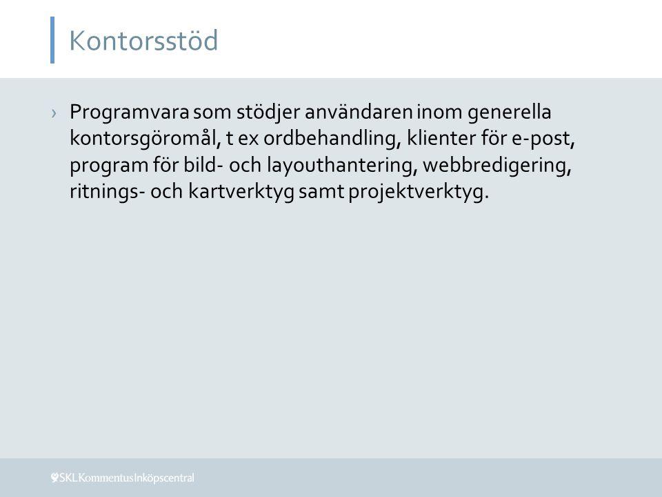 Kontorsstöd ›Programvara som stödjer användaren inom generella kontorsgöromål, t ex ordbehandling, klienter för e-post, program för bild- och layoutha