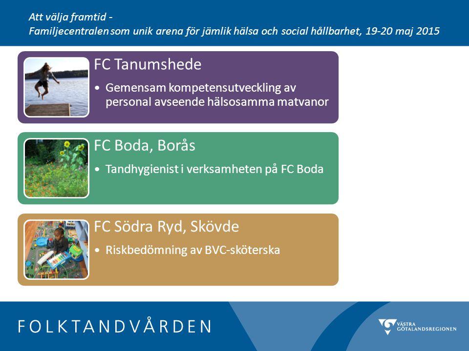 FC Tanumshede Gemensam kompetensutveckling av personal avseende hälsosamma matvanor FC Boda, Borås Tandhygienist i verksamheten på FC Boda FC Södra Ryd, Skövde Riskbedömning av BVC-sköterska Att välja framtid - Familjecentralen som unik arena för jämlik hälsa och social hållbarhet, 19-20 maj 2015