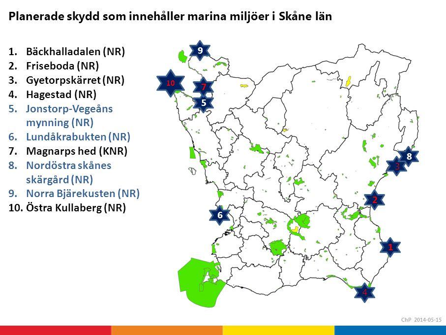 1.Bäckhalladalen (NR) 2.Friseboda (NR) 3.Gyetorpskärret (NR) 4.Hagestad (NR) 5.Jonstorp-Vegeåns mynning (NR) 6.Lundåkrabukten (NR) 7.Magnarps hed (KNR) 8.Nordöstra skånes skärgård (NR) 9.Norra Bjärekusten (NR) 10.Östra Kullaberg (NR) Planerade skydd som innehåller marina miljöer i Skåne län ChP 2014-05-15 1 2 3 6 5 9 10 4 7 8
