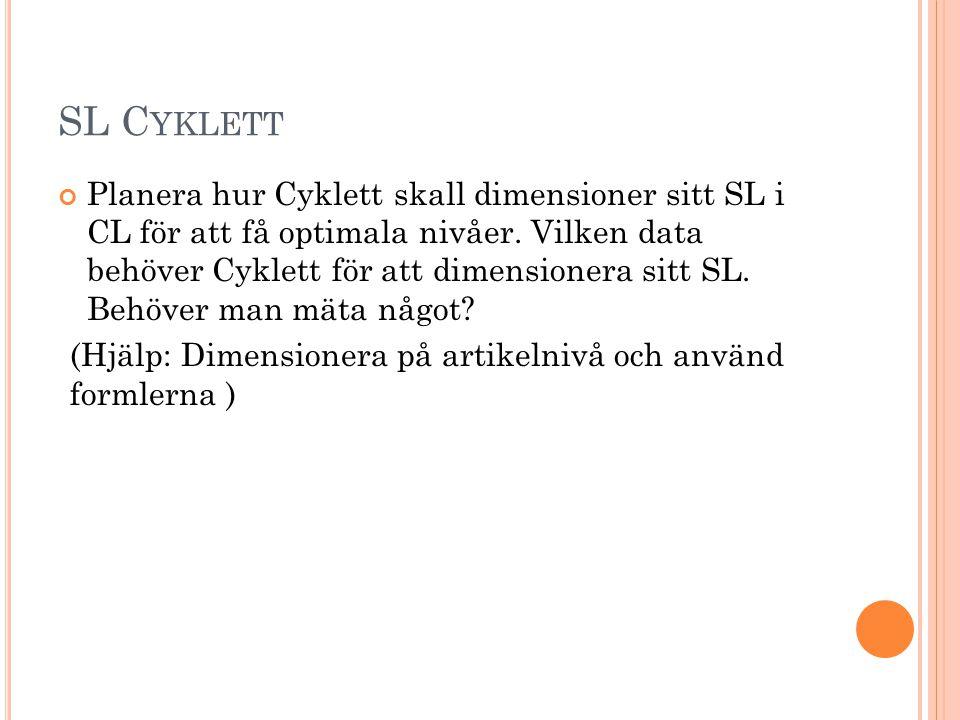 SL C YKLETT Planera hur Cyklett skall dimensioner sitt SL i CL för att få optimala nivåer. Vilken data behöver Cyklett för att dimensionera sitt SL. B