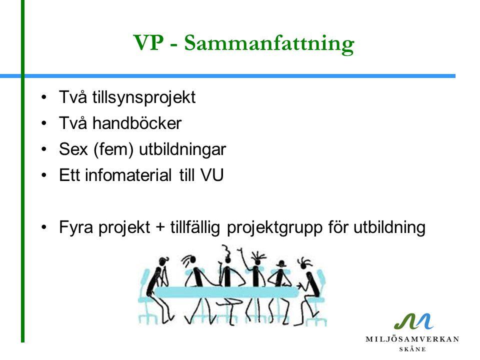 VP - Sammanfattning Två tillsynsprojekt Två handböcker Sex (fem) utbildningar Ett infomaterial till VU Fyra projekt + tillfällig projektgrupp för utbildning