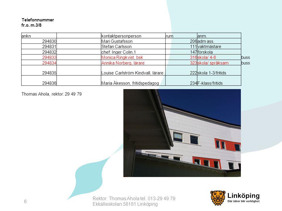 Rektor: Thomas Ahola tel. 013-29 49 79 Ekkälleskolan 58181 Linköping 6 Telefonnummer fr.o. m.3/8 anknkontaktpersonpersonrumanm. 294830Mari Gustafsson2