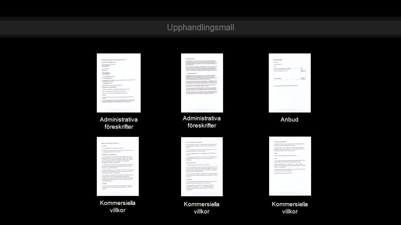 Administrativa föreskrifter Kommersiella villkor Anbud Administrativa föreskrifter Kommersiella villkor Upphandlingsmall Kommersiella villkor