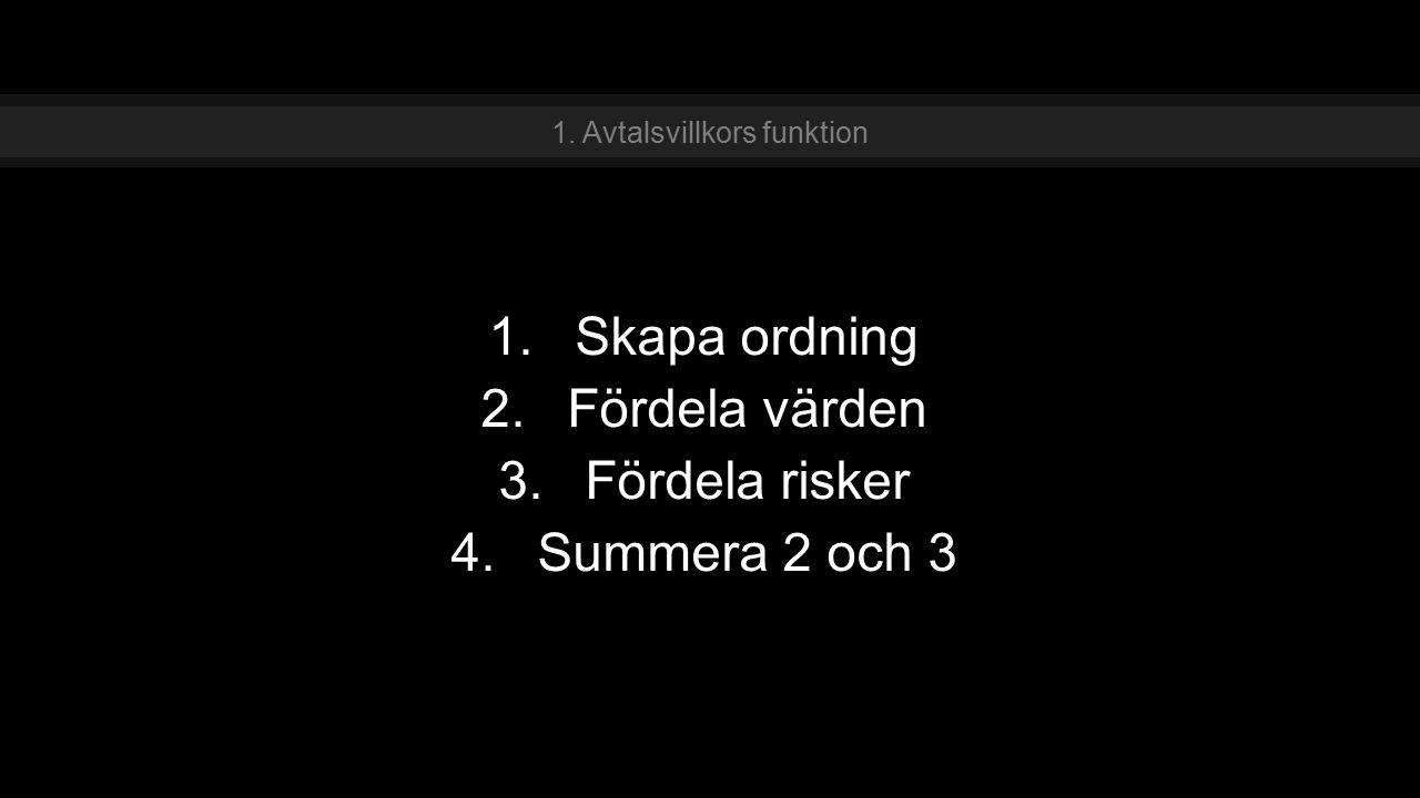 1.Skapa ordning 2.Fördela värden 3.Fördela risker 4.Summera 2 och 3 1. Avtalsvillkors funktion