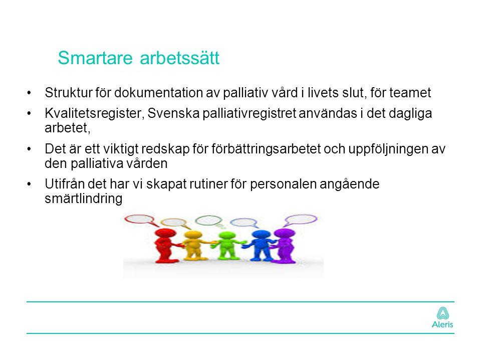Smartare arbetssätt Struktur för dokumentation av palliativ vård i livets slut, för teamet Kvalitetsregister, Svenska palliativregistret användas i de