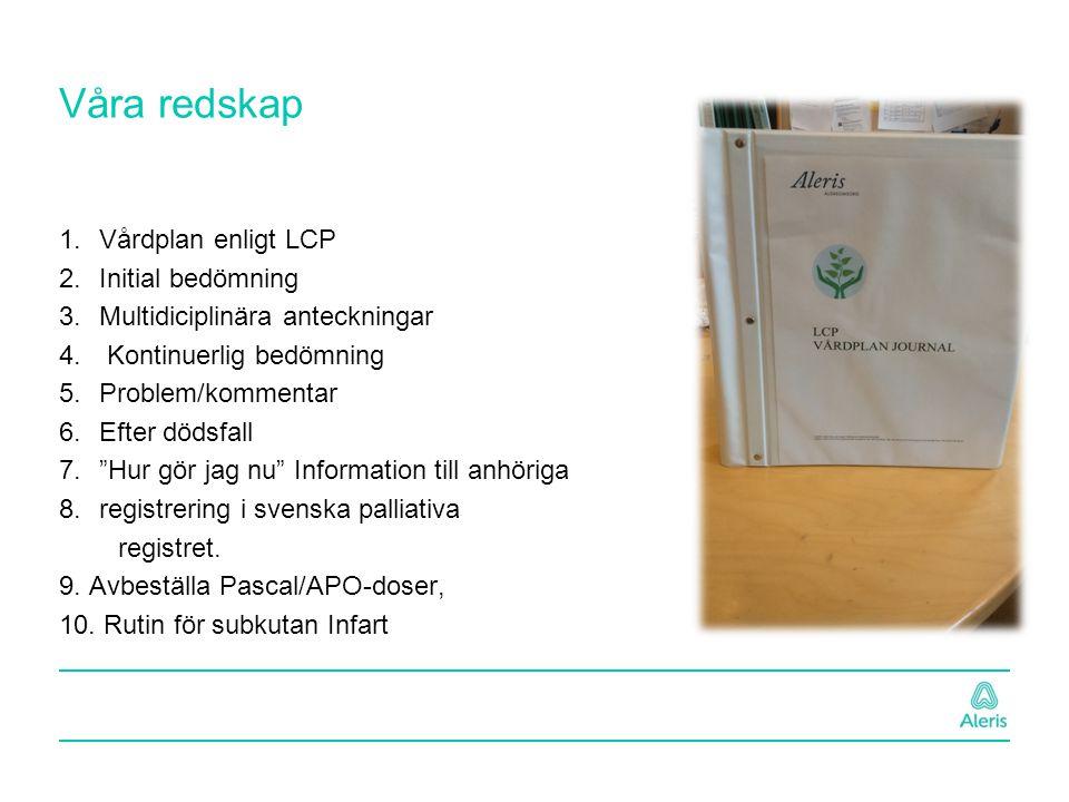 Våra redskap 1.Vårdplan enligt LCP 2.Initial bedömning 3.Multidiciplinära anteckningar 4. Kontinuerlig bedömning 5.Problem/kommentar 6.Efter dödsfall