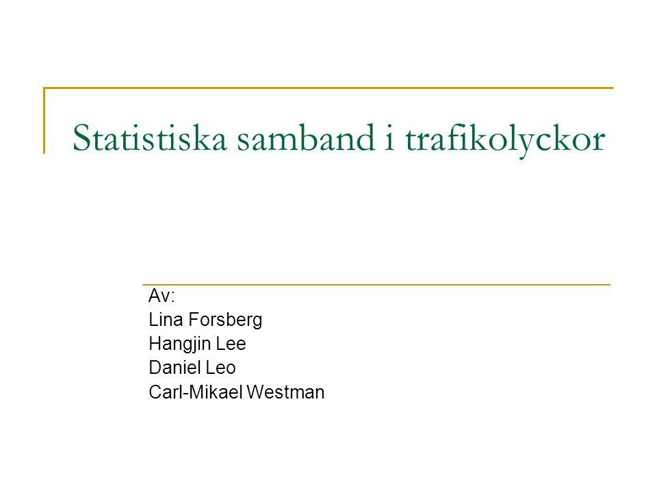 Statistiska samband i trafikolyckor Av: Lina Forsberg Hangjin Lee Daniel Leo Carl-Mikael Westman