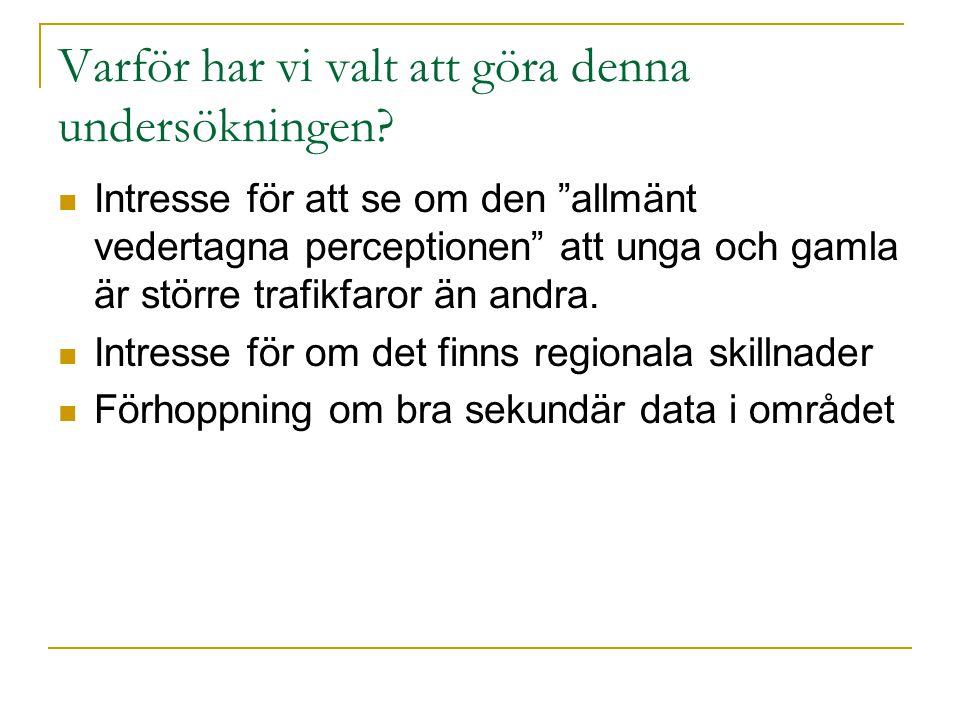 Bakgrund 2007 dog 471 personer i trafiken i Sverige 1970 var motsvarande siffra 1307 personer en framtid där människor inte dödas eller skadas för livet i vägtrafiken 118 av de 471 dödade i trafiken 2007 under 25 år gamla 66 personer över 65 år Geografiska skillnader