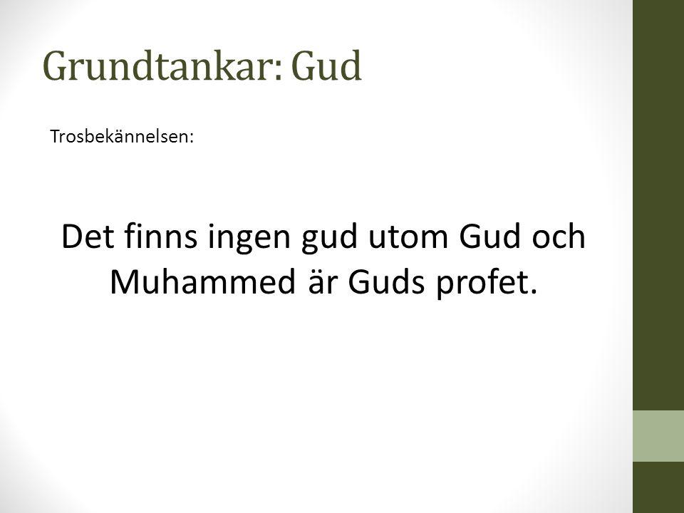 Grundtankar: Gud Trosbekännelsen: Det finns ingen gud utom Gud och Muhammed är Guds profet.