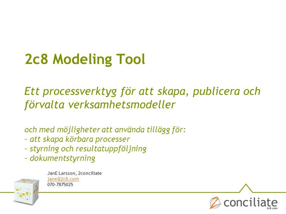 2c8 Modeling Tool Ett processverktyg för att skapa, publicera och förvalta verksamhetsmodeller JanE Larsson, 2conciliate jane@2c8.com 070-7875025 och