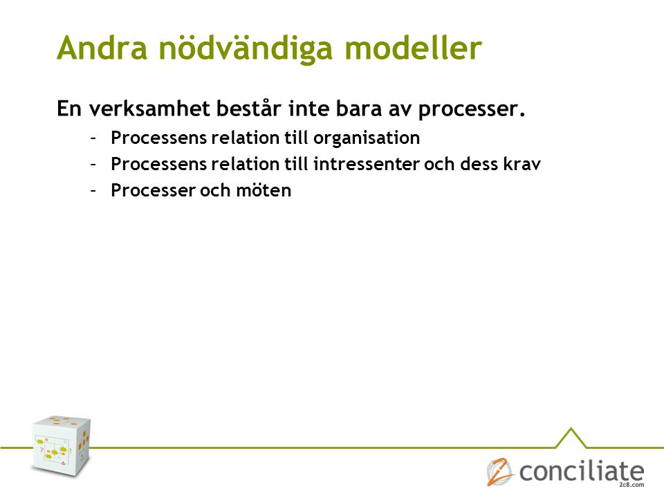 Andra nödvändiga modeller En verksamhet består inte bara av processer. –Processens relation till organisation –Processens relation till intressenter o