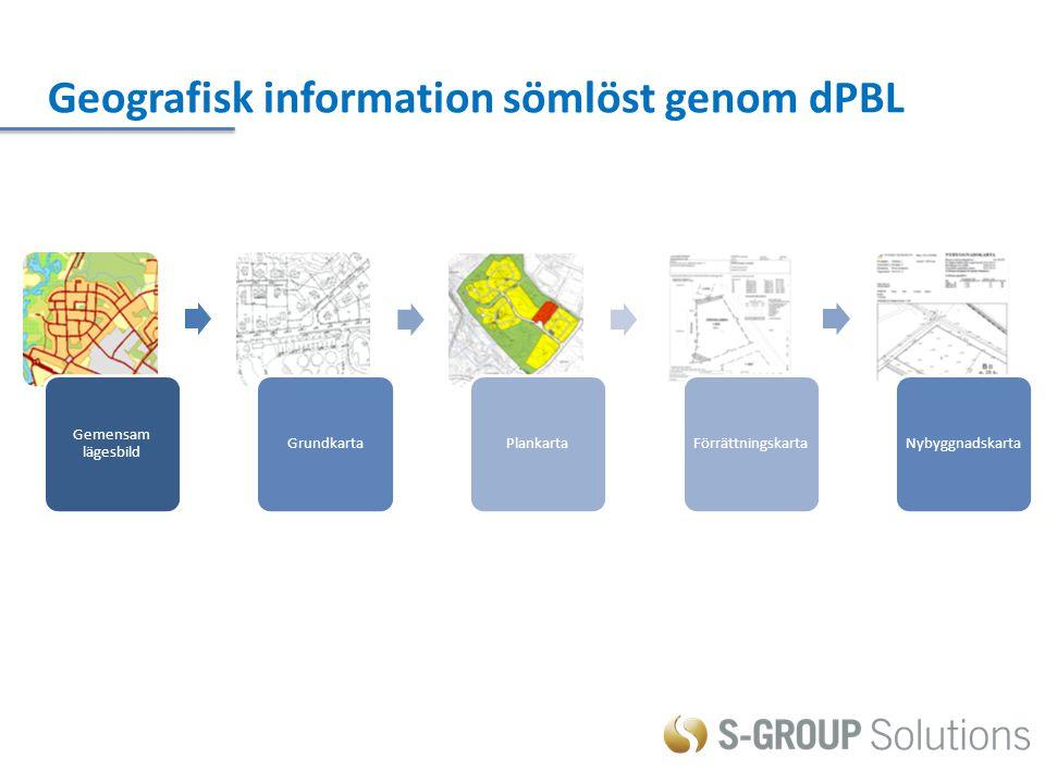 Gemensam lägesbild GrundkartaPlankartaFörrättningskartaNybyggnadskarta Geografisk information sömlöst genom dPBL