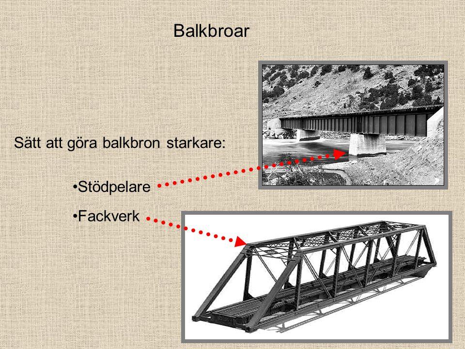 Balkbroar Sätt att göra balkbron starkare: Stödpelare Fackverk