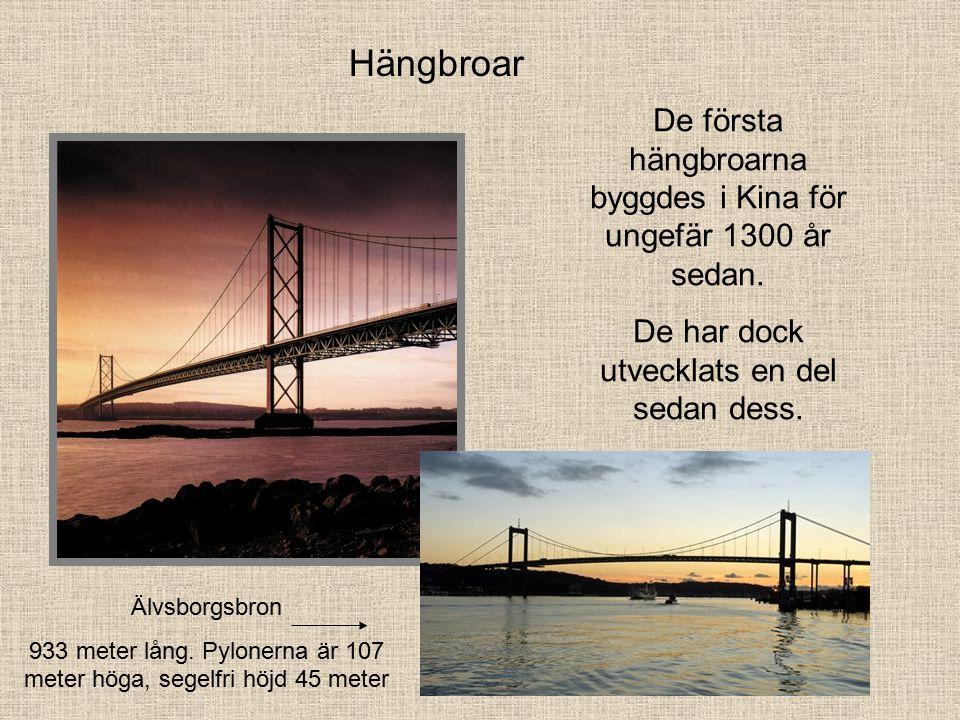 Hängbroar De första hängbroarna byggdes i Kina för ungefär 1300 år sedan.