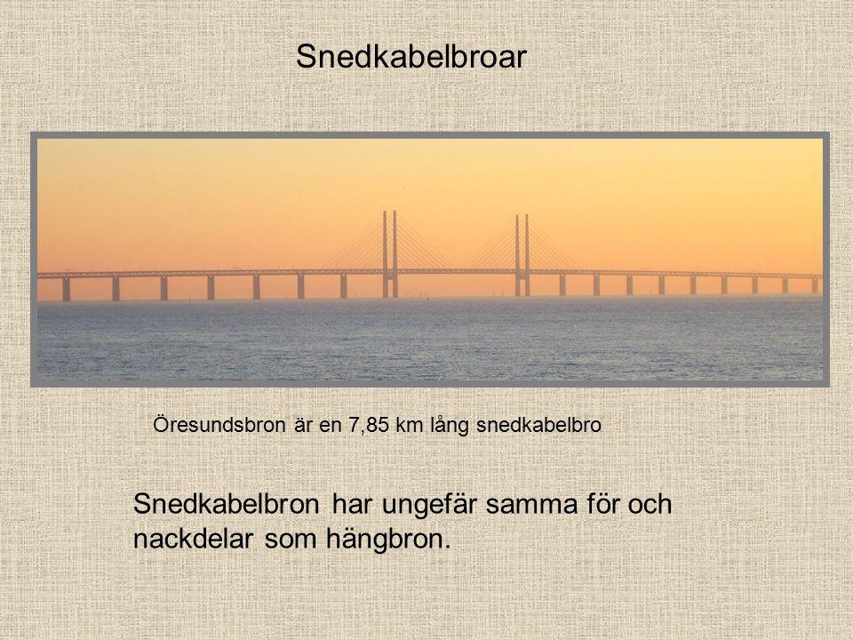 Snedkabelbroar Snedkabelbron har ungefär samma för och nackdelar som hängbron.