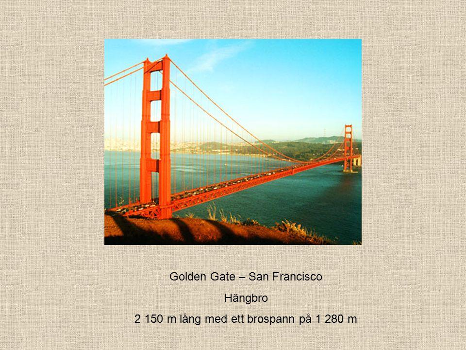 Golden Gate – San Francisco Hängbro 2 150 m lång med ett brospann på 1 280 m