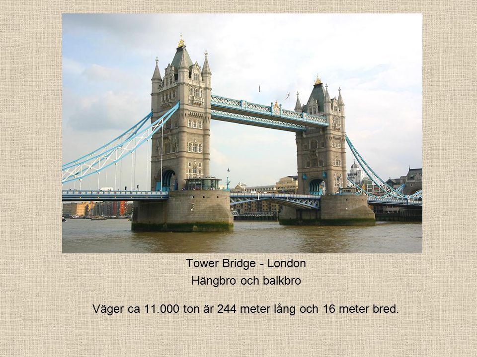 Tower Bridge - London Hängbro och balkbro Väger ca 11.000 ton är 244 meter lång och 16 meter bred.