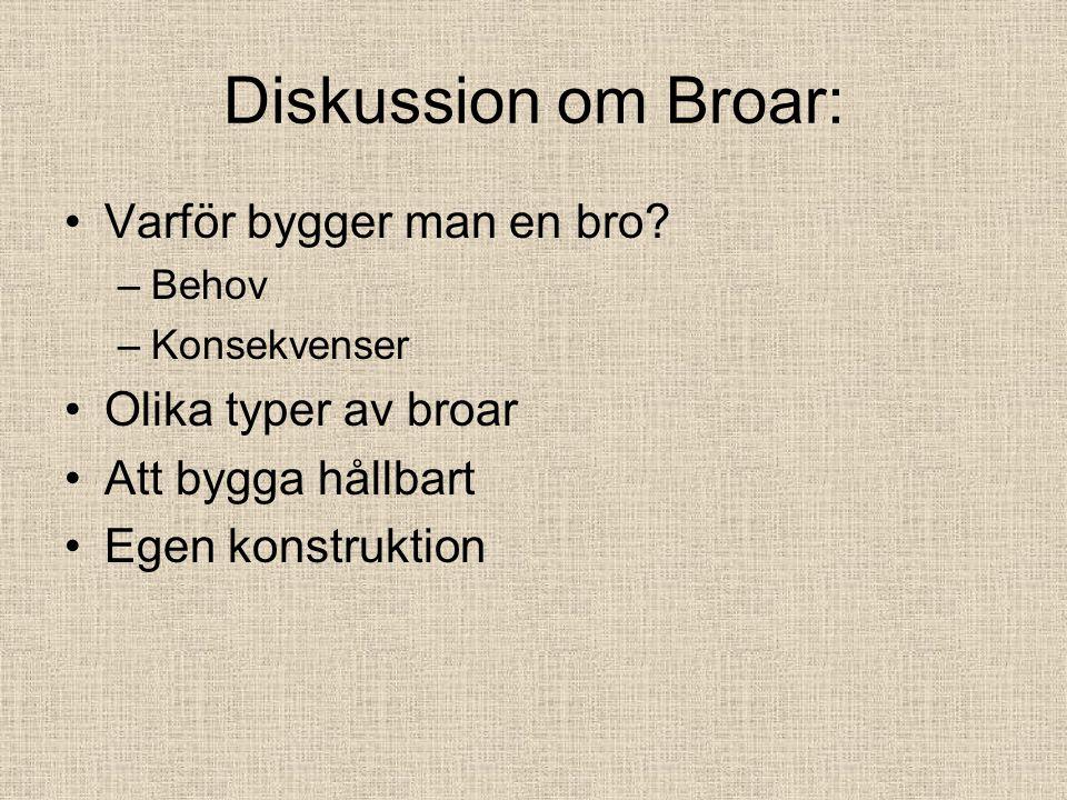 Diskussion om Broar: Varför bygger man en bro.