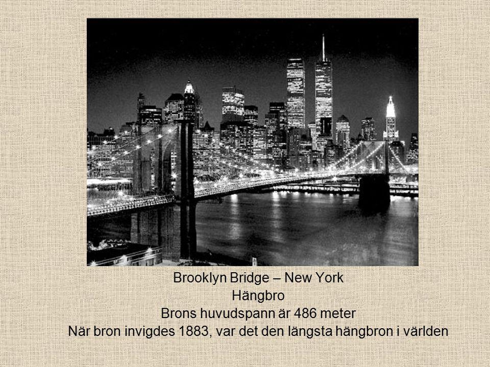 Brooklyn Bridge – New York Hängbro Brons huvudspann är 486 meter När bron invigdes 1883, var det den längsta hängbron i världen
