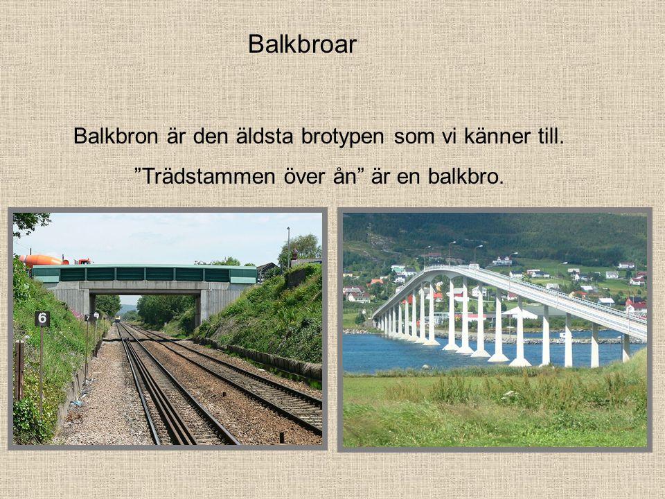 Balkbroar Balkbron är den äldsta brotypen som vi känner till. Trädstammen över ån är en balkbro.