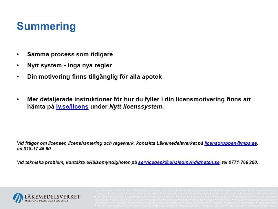 Summering Samma process som tidigare Nytt system - inga nya regler Din motivering finns tillgänglig för alla apotek Mer detaljerade instruktioner för