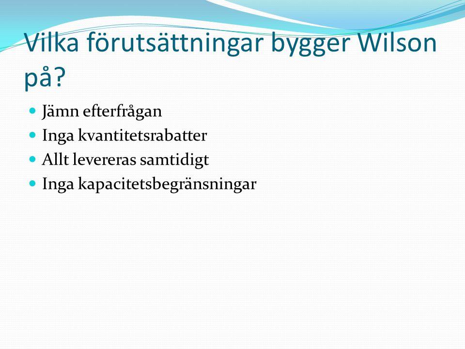 Vilka förutsättningar bygger Wilson på? Jämn efterfrågan Inga kvantitetsrabatter Allt levereras samtidigt Inga kapacitetsbegränsningar