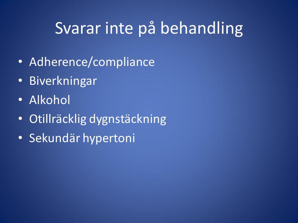 Svarar inte på behandling Adherence/compliance Biverkningar Alkohol Otillräcklig dygnstäckning Sekundär hypertoni