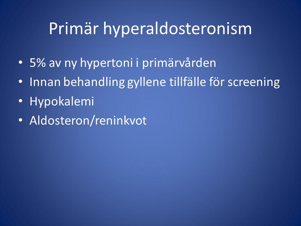 Primär hyperaldosteronism 5% av ny hypertoni i primärvården Innan behandling gyllene tillfälle för screening Hypokalemi Aldosteron/reninkvot