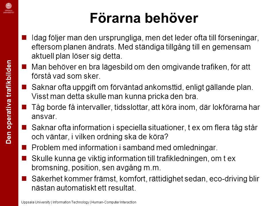 Den operativa trafikbilden Uppsala University | Information Technology | Human-Computer Interaction Förarna behöver Idag följer man den ursprungliga, men det leder ofta till förseningar, eftersom planen ändrats.