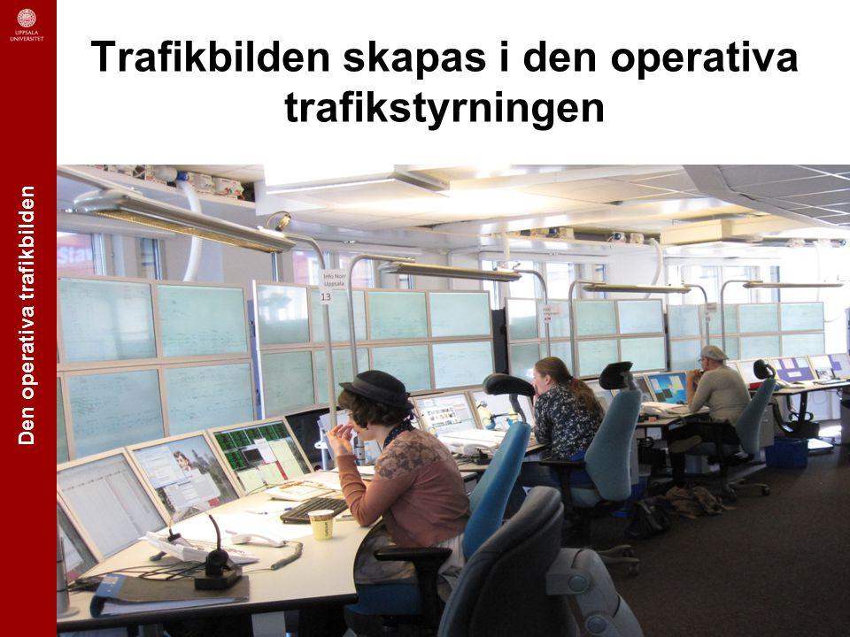 Den operativa trafikbilden Uppsala University | Information Technology | Human-Computer Interaction Kunder * Resande, gods Aktuell trafikplan Tågförare Tågpersonal Järnvägs- företag Trafik- ledning Banarbeten Entreprenörer RTTP