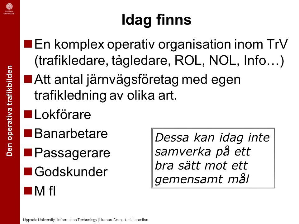 Den operativa trafikbilden Uppsala University | Information Technology | Human-Computer Interaction Idag finns En komplex operativ organisation inom T