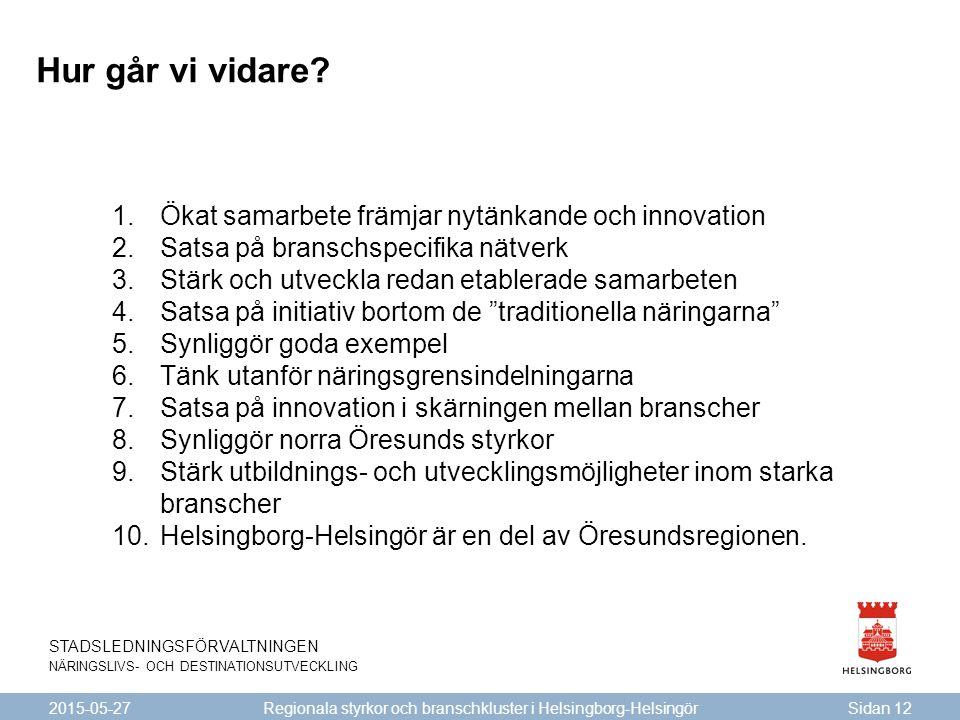 STADSLEDNINGSFÖRVALTNINGEN NÄRINGSLIVS- OCH DESTINATIONSUTVECKLING 2015-05-27Sidan 12 Regionala styrkor och branschkluster i Helsingborg-Helsingör Hur