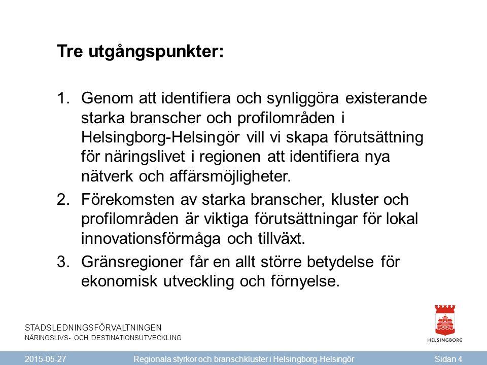 STADSLEDNINGSFÖRVALTNINGEN NÄRINGSLIVS- OCH DESTINATIONSUTVECKLING Tre utgångspunkter: 2015-05-27Sidan 4 Regionala styrkor och branschkluster i Helsin