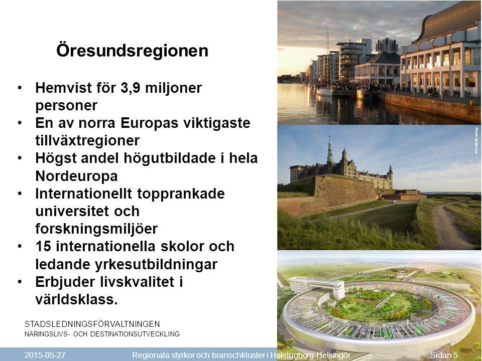 STADSLEDNINGSFÖRVALTNINGEN NÄRINGSLIVS- OCH DESTINATIONSUTVECKLING 2015-05-27Sidan 5 Regionala styrkor och branschkluster i Helsingborg-Helsingör Hemv