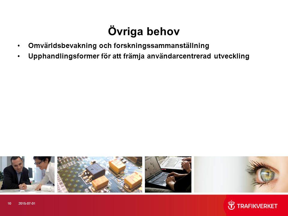 102015-07-01 Övriga behov Omvärldsbevakning och forskningssammanställning Upphandlingsformer för att främja användarcentrerad utveckling